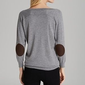 Joie Bronx Elbow Patch Gray Sweater Cashmere - XS